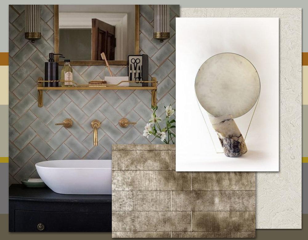 bathroom tiles via Pinterest - Paktong Silver Planks De Ferranti - wallpaper Suminagashi Zoffany - Tension Mirror Pearl Katharina Eisenkōck
