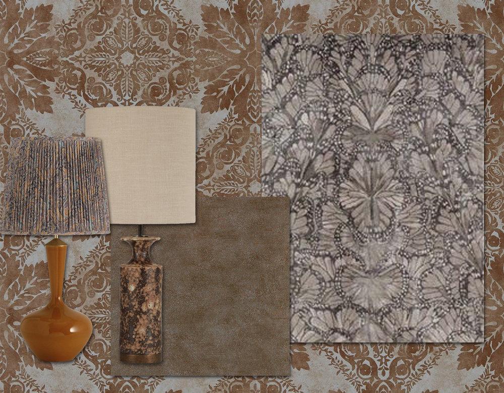 wallpaper Medevi Mirror Zoffany - wallpaper Metallo Zoffany - rug Monarch Smoke The Rugcompany - lamps Porta Romana