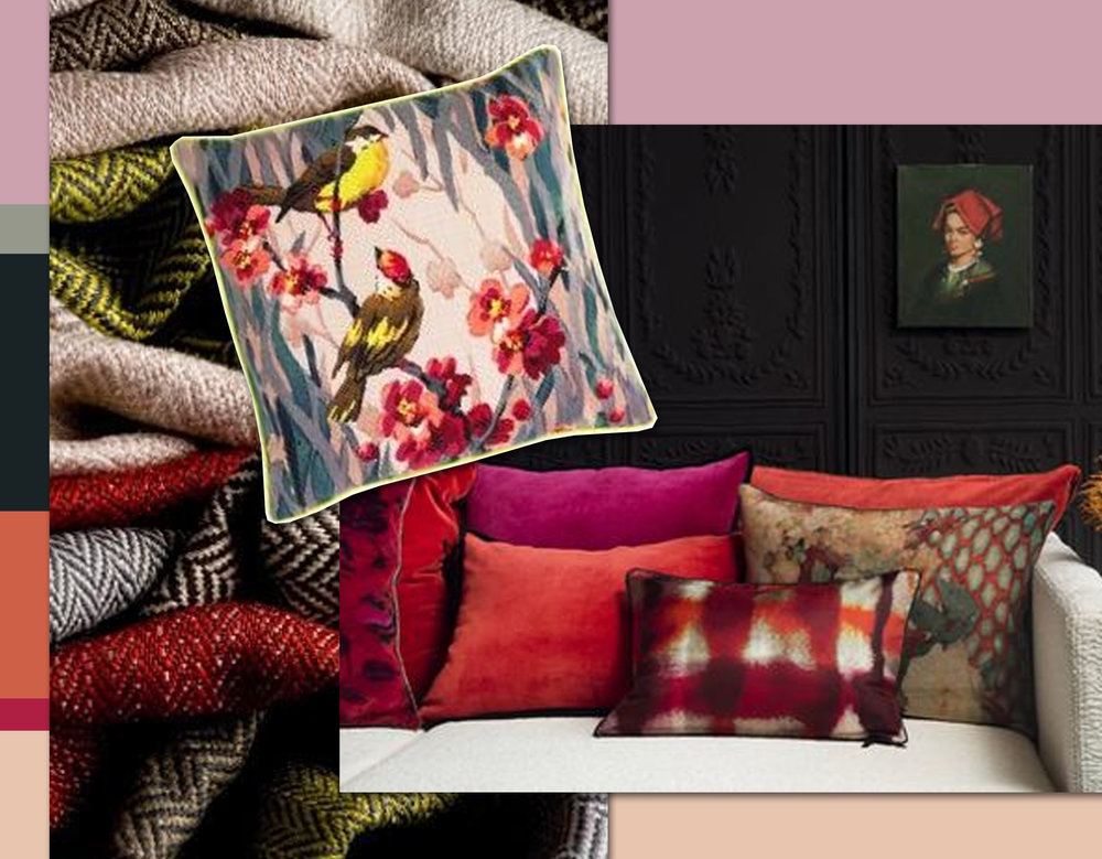 fabrics James Malone - Birdie Blossom cushion The Rugcompany - mix of cushions Elitis