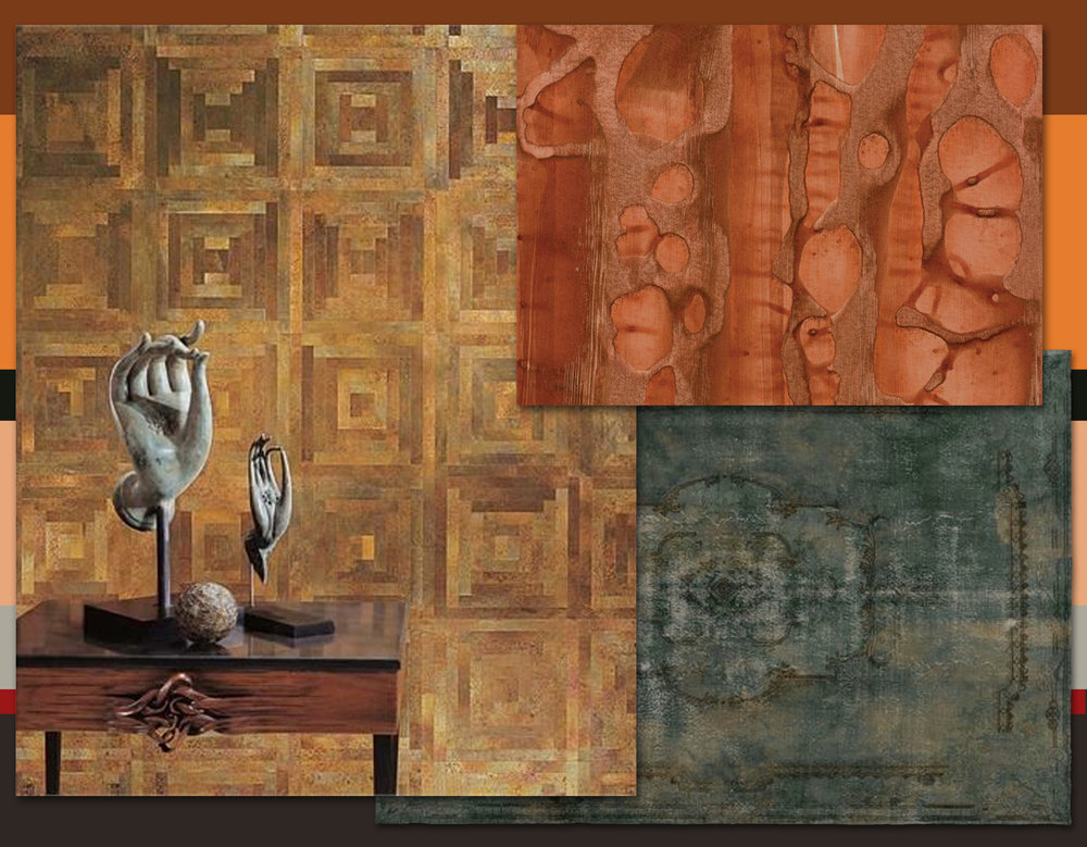 True Metals Maya Romanoff - hand-painted wallpaper River Bed Maya Romanoff - decolorized rug Golran -