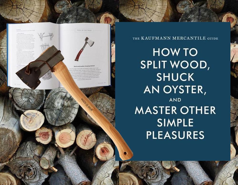 image cut wood via  Pinterest  - book  The Kaufmann Mercantile Guide  - splitting axe  Terrain