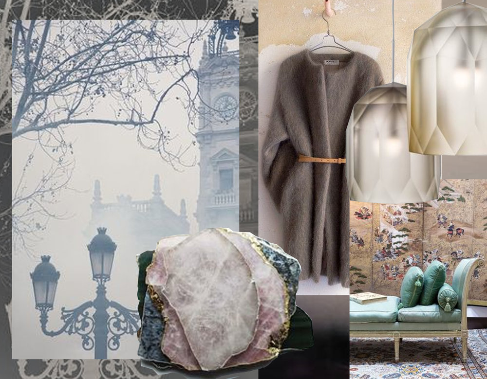 image Foggy London via A Sprinkle of Pretty - stones via The Lane - mohair coat via Millay Vintage - Polygons glass pendants via Dezeen - interior image via Interior Style Hunters