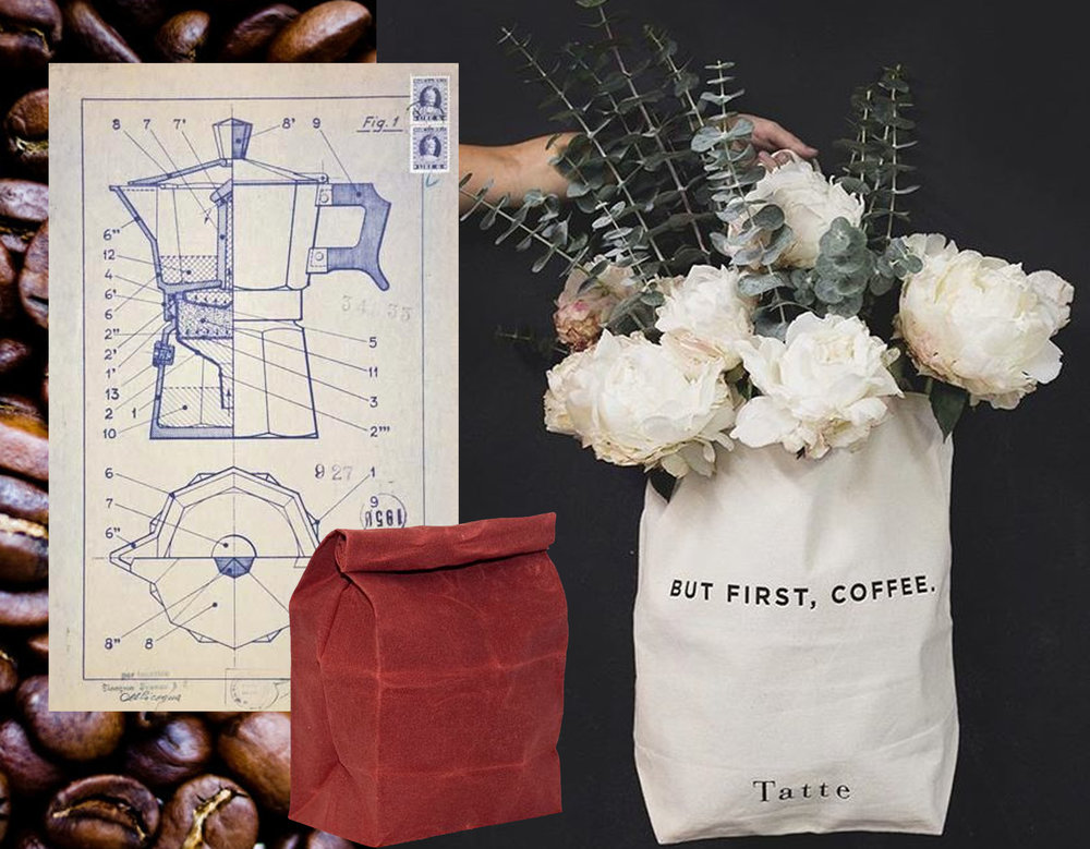 image coffee beans via  Bon Appetit  - Alfonso Bialetti coffee maker design via  L'Aragosta  - lunch bag in waxed cotton  Waam Industries  - But First, Coffee via  Sinsdesign