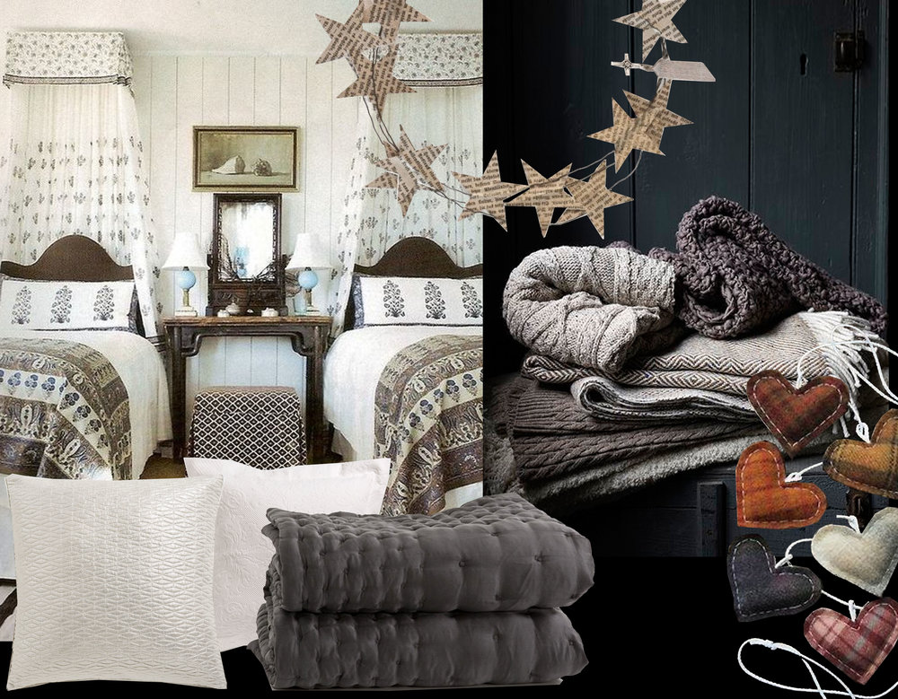 bedroom via Pinterest - pillows  Zara Home  - silk quilt  Zara Home  - blankets via  Grey Design  - paper stars wreath via  Sa Vitt Jag Vet - wool hearts via  Pinterest