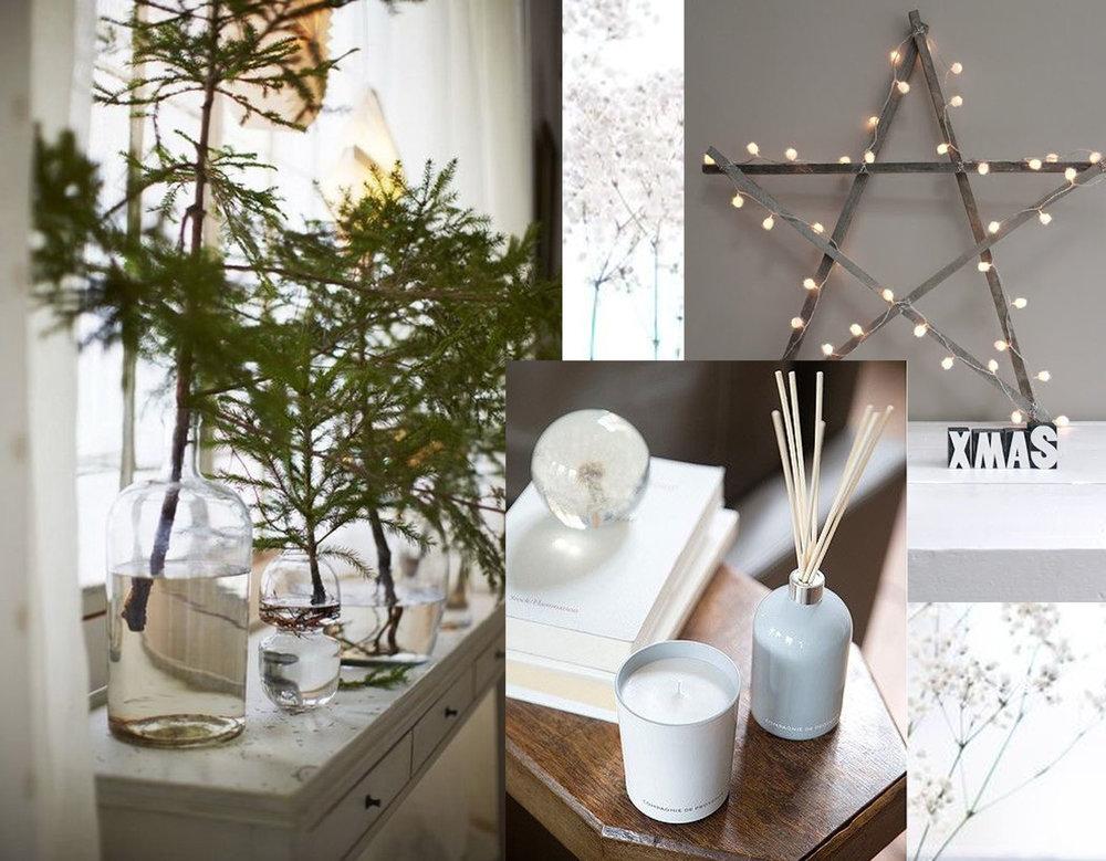some green branches via  Un Due Tre  - star via  Apartment Diet  - Compagnie de Provence candle via  A La Maison