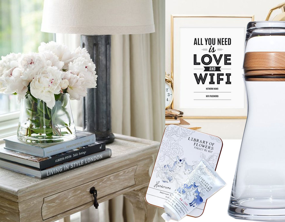 flowers on nightstand via  Sheerluxe  - wifi note via  Casa TV  - carafe via  Sumally  - handcreme  Library of Flowers