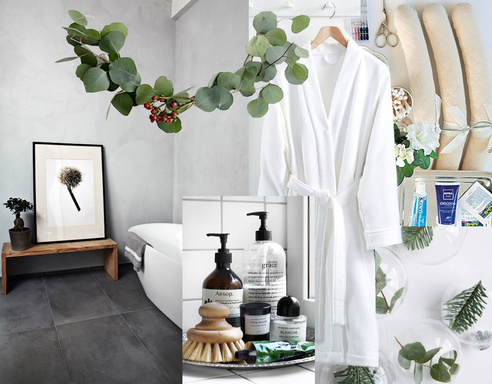 bathroom via  Homedit  - bathroom robe  Macy's  - glas Christmas balls via  My Scandinavian Home  - guestroom essentials via  Veranda  - tray bathroom essentials via  Trendenser  - touch of green via  My Scandinavian Home