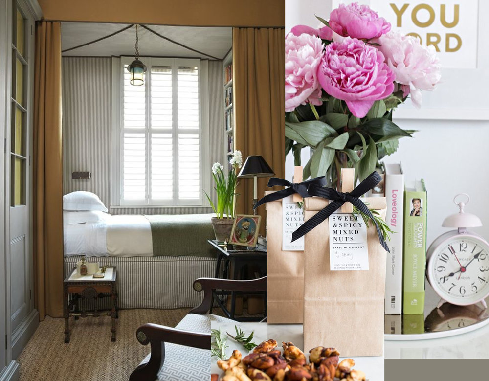 guest room via Architectural Digest - flowers via Nous Decor - sweet and spicy mixed nuts (+recipe) See and Savour