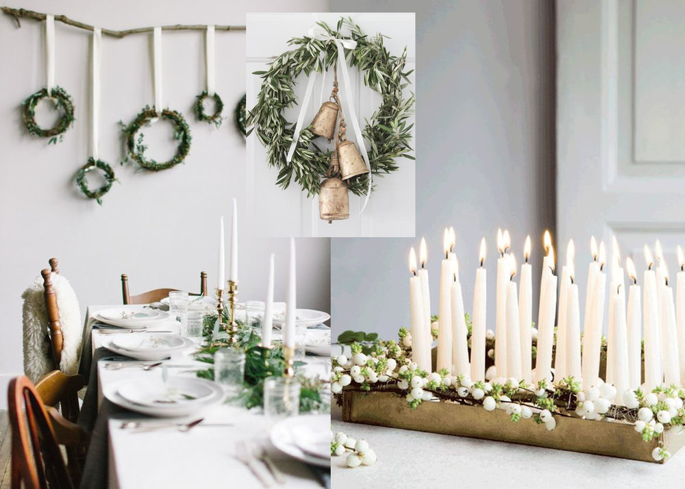 dinner table via  Pinterest  - wreath with bells via  Shades of Blue Interiors  - white candles via  Femina