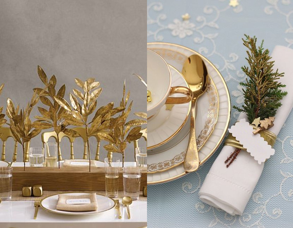 gold leaves via Homedit - touch of gold via Casa Tres Chic