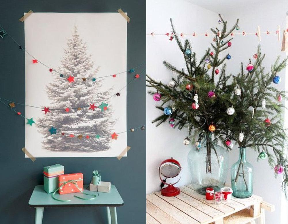 printed Christmas tree via Wedding Chicks - decorated branches via Lonny