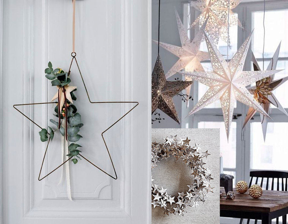 star wreath via  Trends Panarna  - frosted star wreath via  Pinterest  - star lights via  Cuded