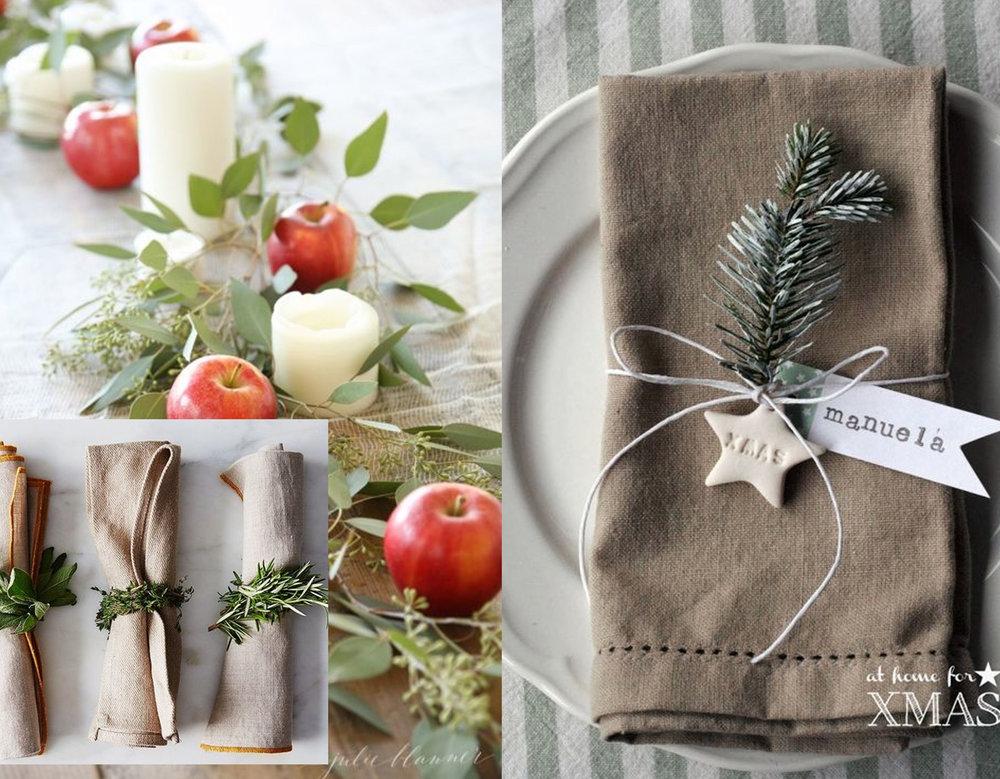 green napkin rings  Food 52  - centerpiece with apples via  Elle Decor  - small decoration to embellish simple napkin via  Treintamasdiez