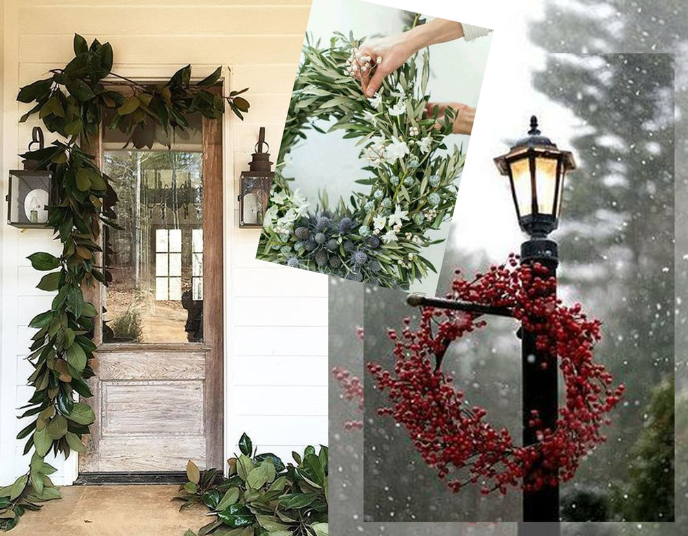 green at entrance via  Studio McGee  - wreath via  The Cottage Market  - red wreath via Dishfunctional Designs