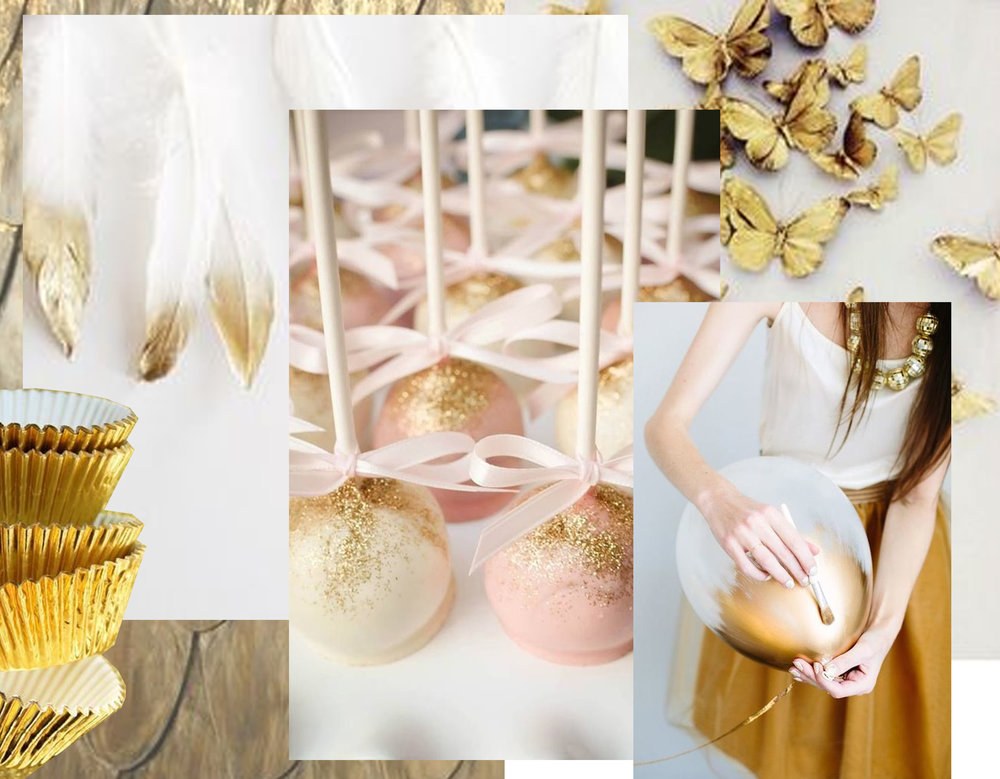 feathers via  Instagram  - paper cups via  Tumblr  - cake pops via  Mon Cherie  - ballon via  Brit + Co  - golden butterflies  Pinterest  -