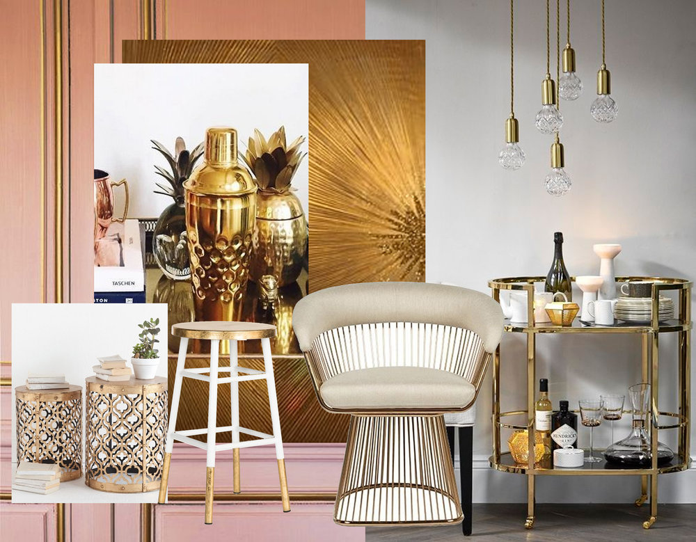 Gabriel counter stool  Domino  - golden cocktail shaker  Anthropology  - Eva armchair  Globe West  - golden drink trolley via  Home Girl London