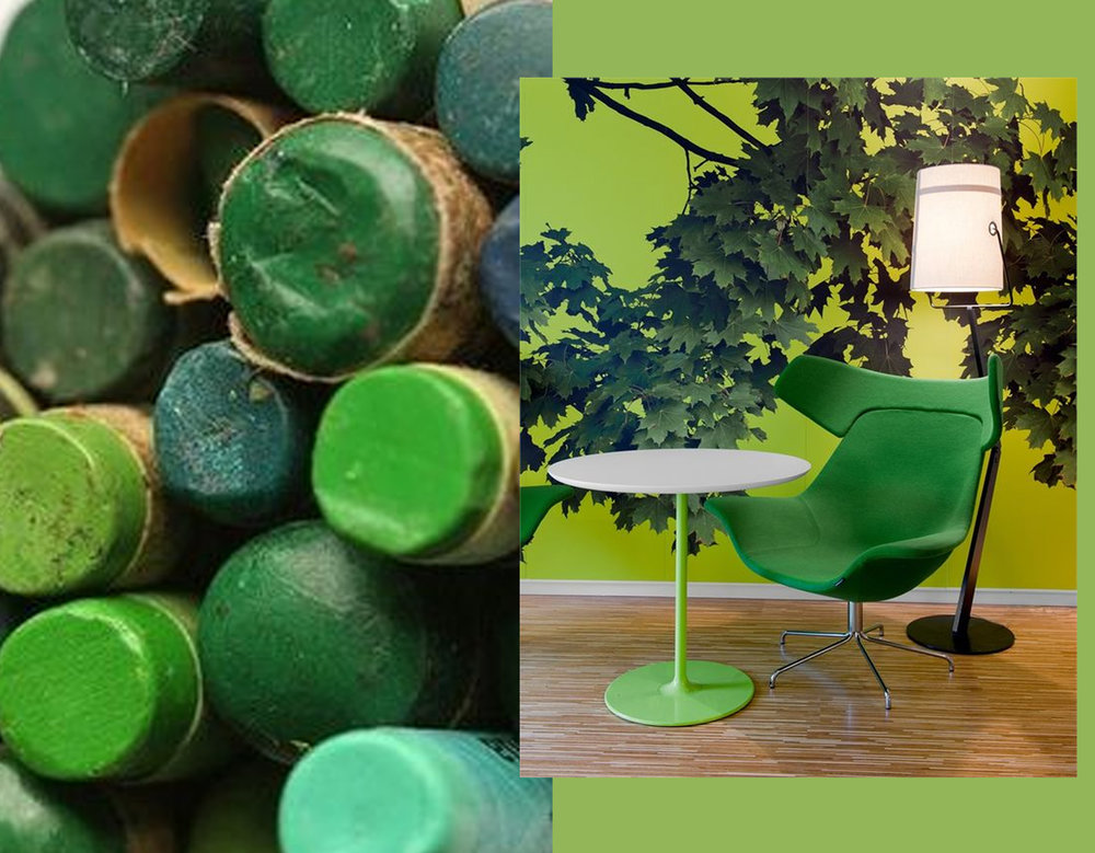 green wax crayons  Pinterest  - interior image via  Archilovers