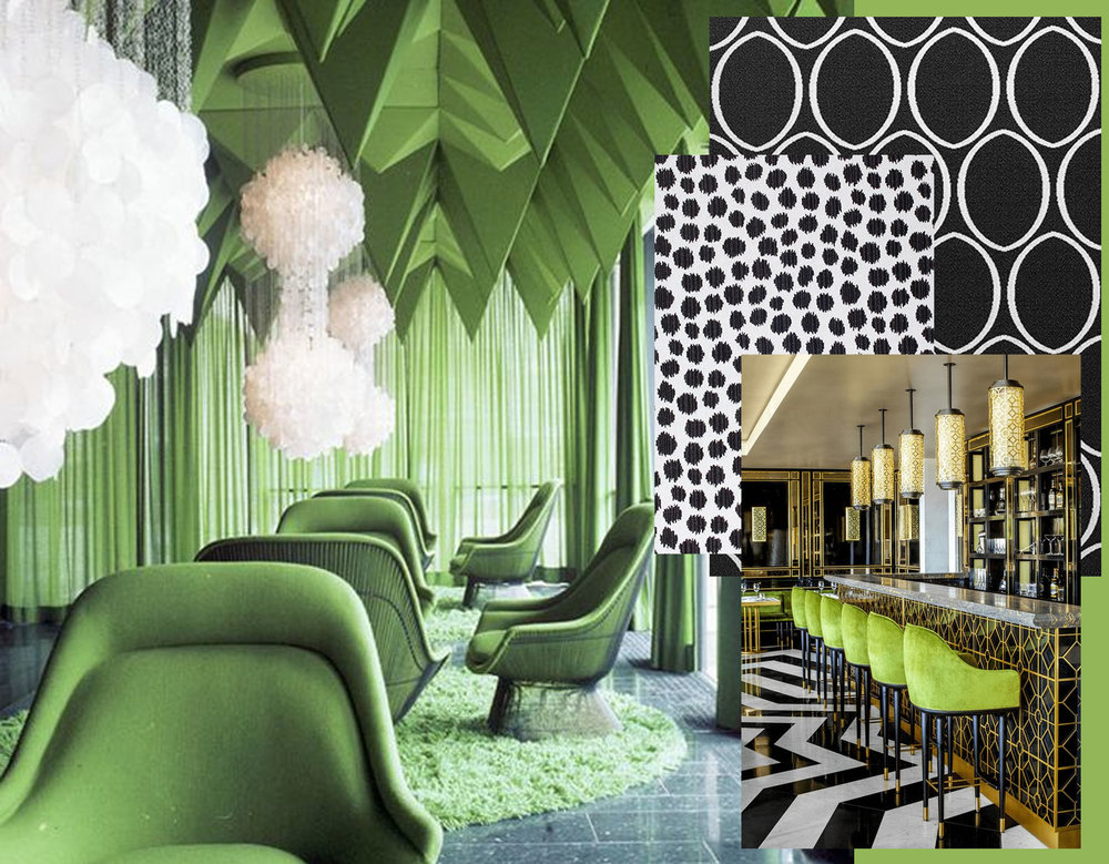 interior Verner Pantone via  Yellowtrace  - interior bar via  Concepts and Colorways  - fabric Ellipse  Thibaut  - fabric Sarah Spot  Thibaut