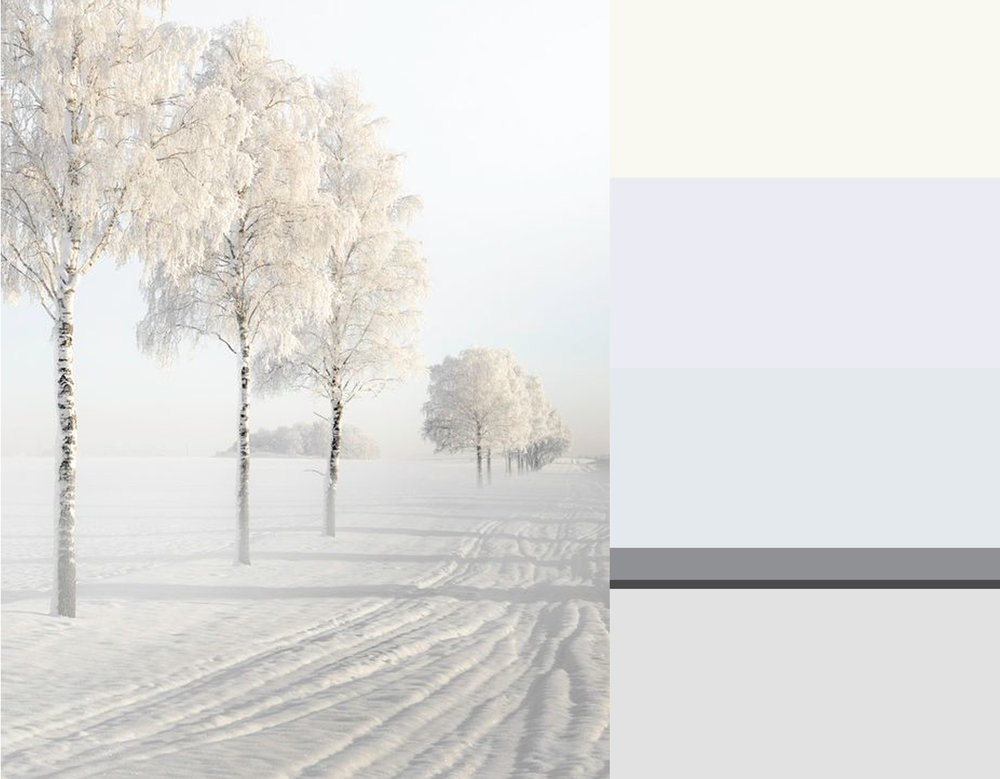 winter image via  Expressions of nature  - colors from top down Milk  Zoffany  - Great White 2006  Farrow & Ball  - Quarter La Seine  Zoffany  - Mid Lead Colour 114  Little Greene  - Railings 31  Farrow & Ball  - Dimpse 277  Farrow & Ball