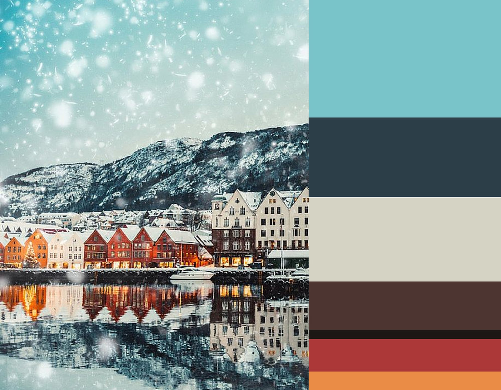 Image Bergen, Norway via   Avenly Lane Travel   -     colors from top down Fairy Tale Blue  Benjamin Moore  - Twilight  Benjamin Moore  - James White 2010  Farrow & Ball  - Spanish Brown 32  Little Greene  - Basalt 221  Little Greene  - Terre D'Egypte 247  Farrow & Ball  - Pumpkin Pie  Benjamin Moore