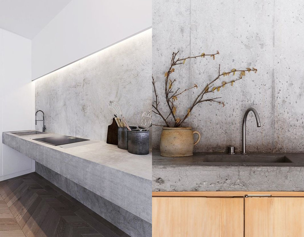 concrete kitchen via  Bloglovin ' - concrete minimalist cabinet via  Elle Decoration