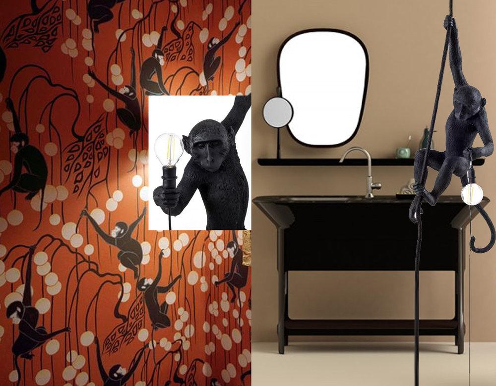 wallpaper  De Gournay  - washbasin and mirror Materico  Jaime Hayon  - Monkey lamp  Really Nice Things