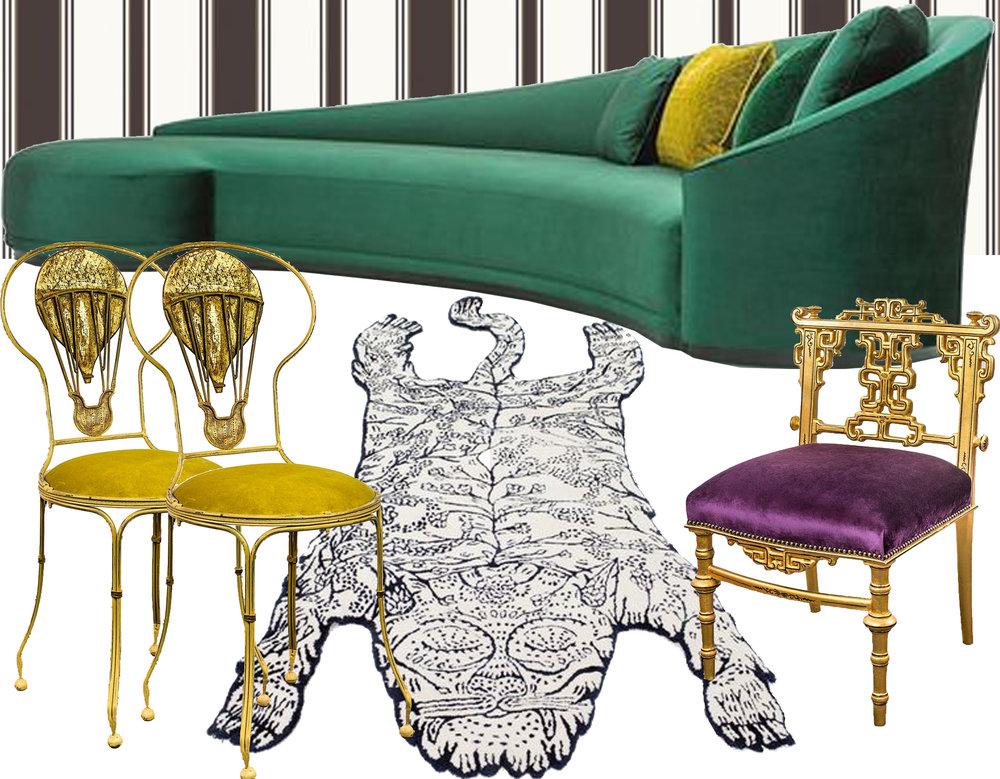 wallpaper Cambridge stripe  Cole & Son  - sofa Jackie  Van Hamme  - Tiger rug  Moustache  - Montgolfiere chair  Mis en Demeure  - Nankin chair  Mis en Demeure