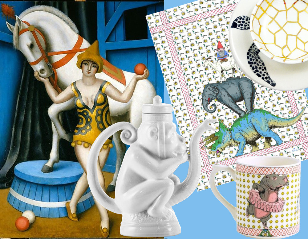 painting Circus Equestrienne Jean Metzinger  The Met - teapot Monkey  Eligo  - tea towel Lucien  Gien  - elephant mug Lucien  Gien  - plate B/N y Oro  Producto Fresco