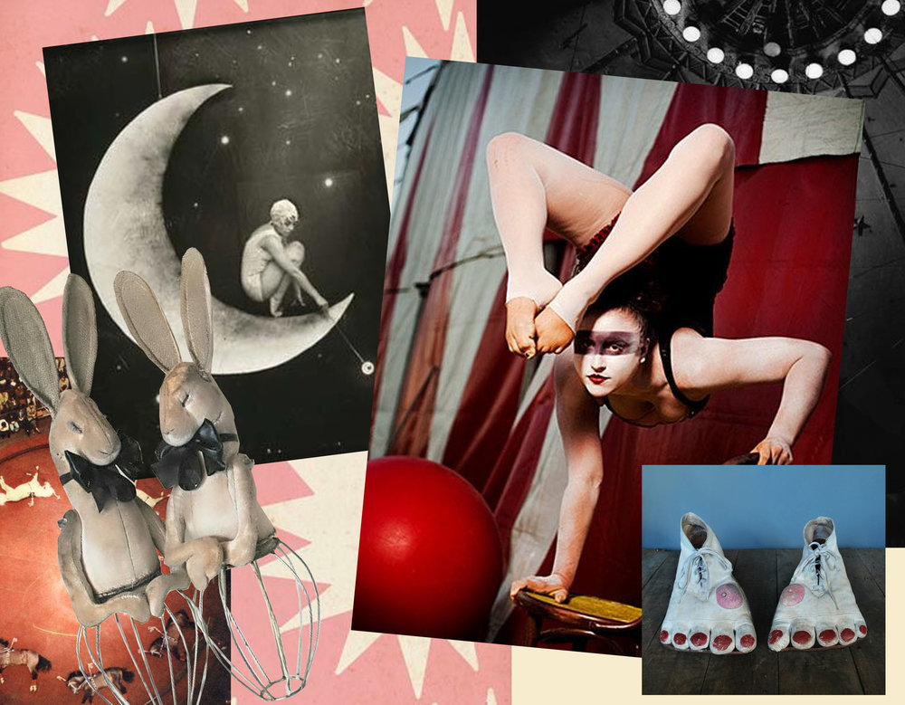 stars Ashley Goldberg via  Flickr  - 1950's leather clown shoes via  Pinterest  - acrobat via  Pinterest  - Wire Frame Hares by  Mr Finch  - black&white image via  Pinterest