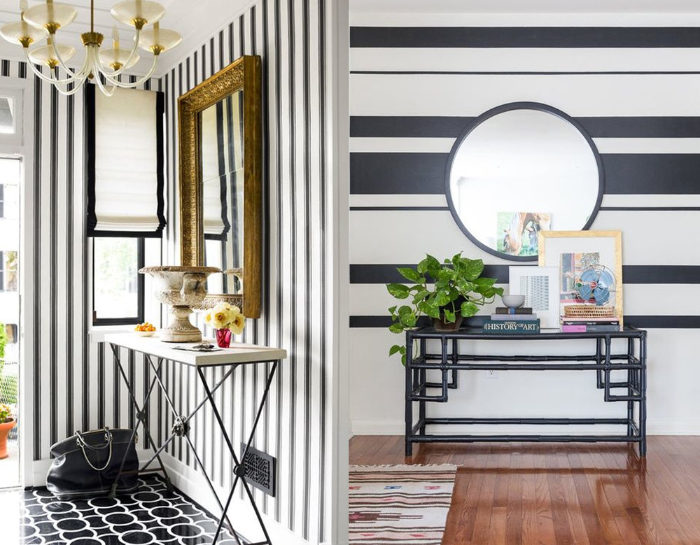 vertical stripes via  House Beautiful  - horizontal lines via  Apartment Therapy