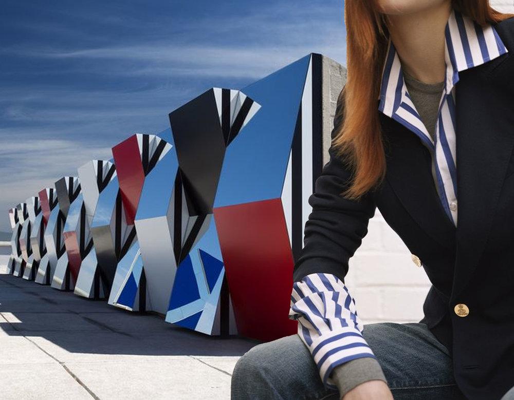 installation Daniel Buren - striped shirt and blazer Ralph lauren via AnOther