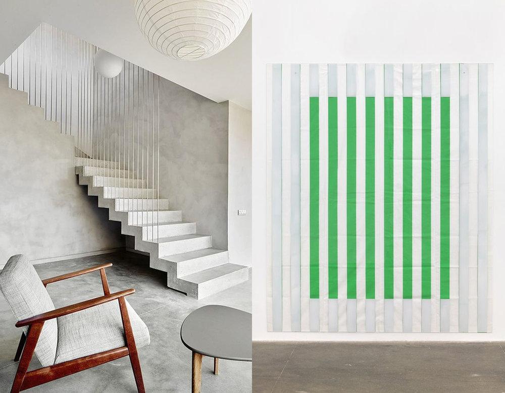 minimalist interior via  Pinterest - art work  Daniel Buren