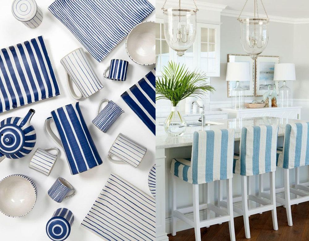blue and white striped accessories Exercise de Style - kitchen image via Blue Daze
