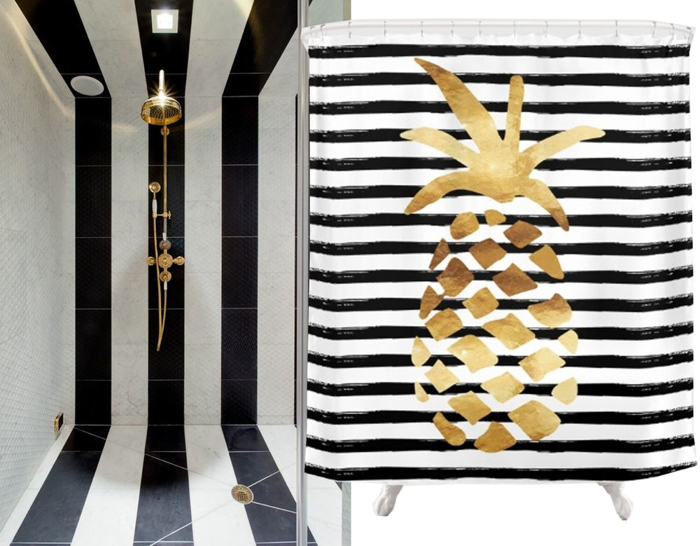 bathroom image via Laurel and Wolf - shower curtain Society 6