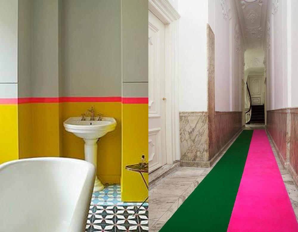 bathroom image via  2  Modern  - corridor runner via  Apartment Therapy