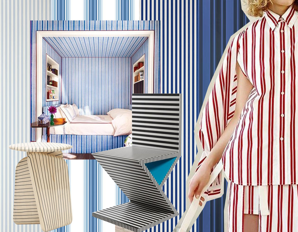 wallpapers  Farrow & Ball  - striped bedroom via  Instagram  - fashion striped outfit Resort 2017  Balenciaga  - small stool By Hands via  Intarmurous  - chair Neo Laminati collection by Kelly Behun via  Design Milk