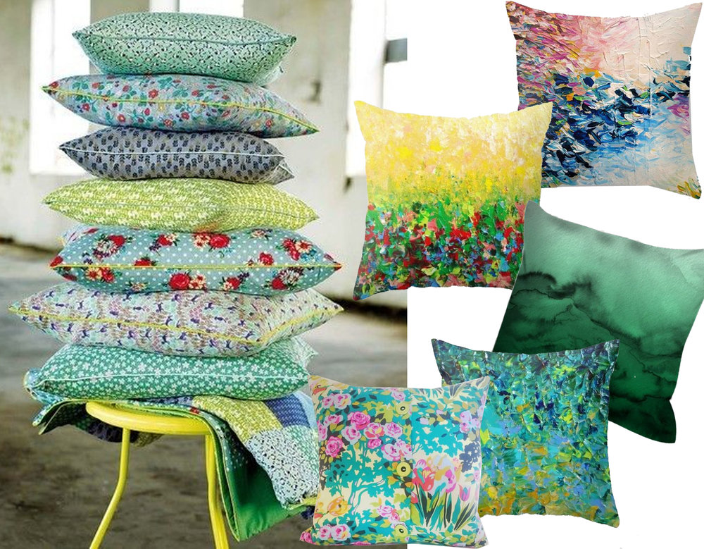 pile of cushions via  Nest Pretty Things  - cushions  Ebi Emporium  and  The Cushion Culture