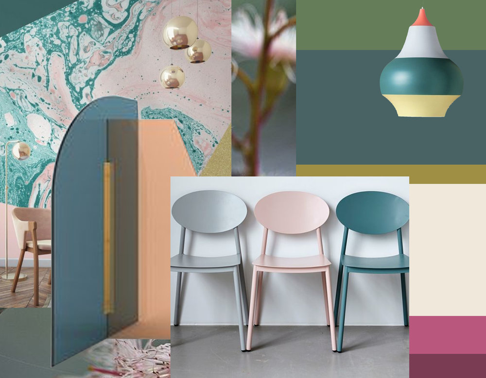 Vela paravant by Arflex via  Architonic - Cirque lamp  Louis Poulsen  - chairs via  Spruce and Furn