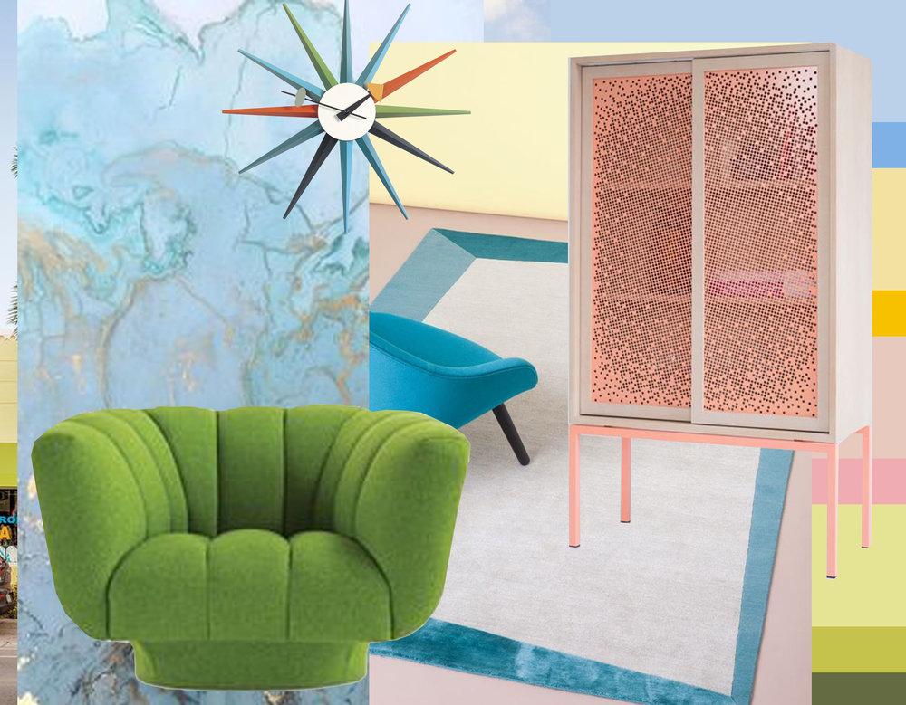 blue + gold art image via  Zsa Zsa by Design  - green armchair Roche Bobois via  Interior Design  -CC Tapis via  Artnau  - Mashrabeya cabinet via  Design Milk  -  Vitra  Sunburst wall clock