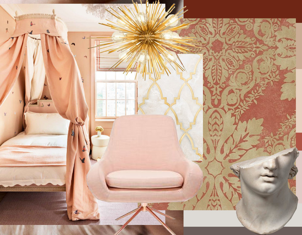 Image bedroom De Gournay  via  Pictaram  - Boivin hanging lamp  Eichholtz  - Paris Grande marble mosaic  Mosaique Merchlar  - armchair - Medevi wallpaper  Zoffany  - statue via  Jaded Mandarin