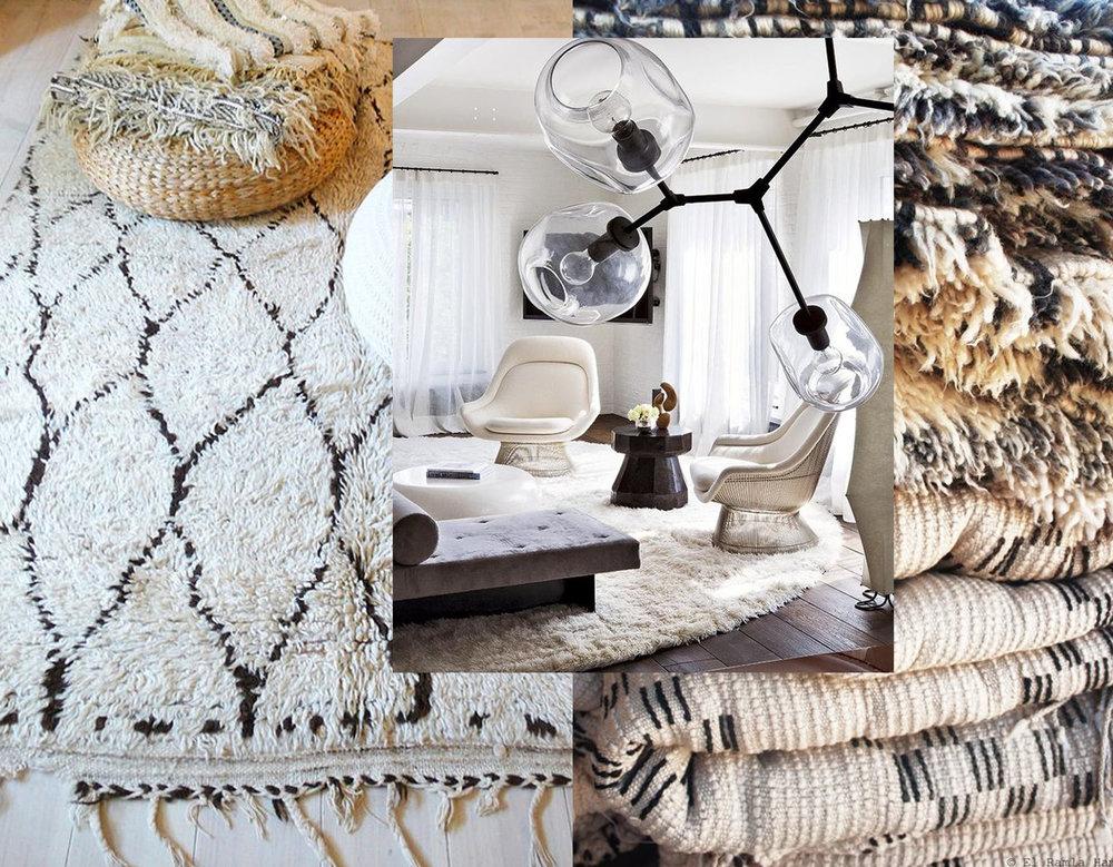 Beni Ouarain rug  La Casa de Coto  - interior image  Pinterest - pile of Beni Ouarain rugs  Pinterest