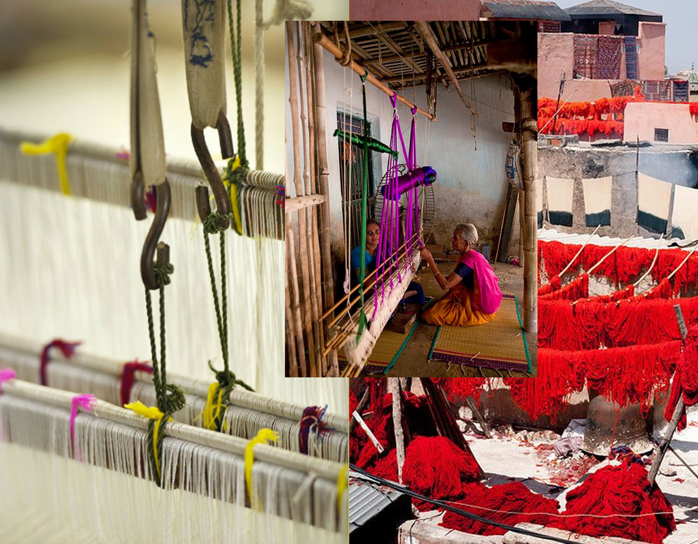 loom image  Ligne Pure  - Dyed yarn via  Flickr - weaving on traditional loom via  Flickr
