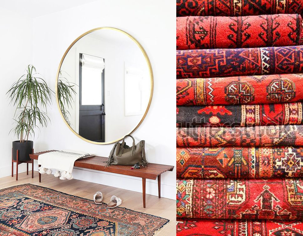 Interior image via  Feed Puzzle  - pile of Persian rugs vie  The Polo House