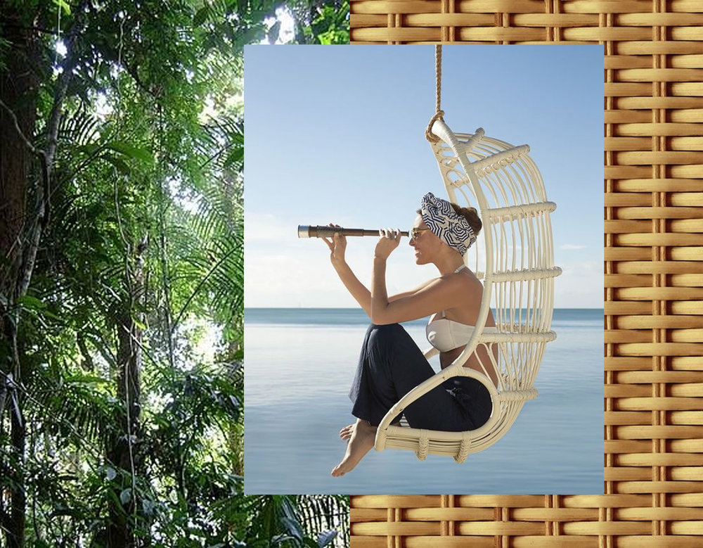 rattan in forest via  Panda  - hanging chair  Serena and Lily  - rattan via  google images