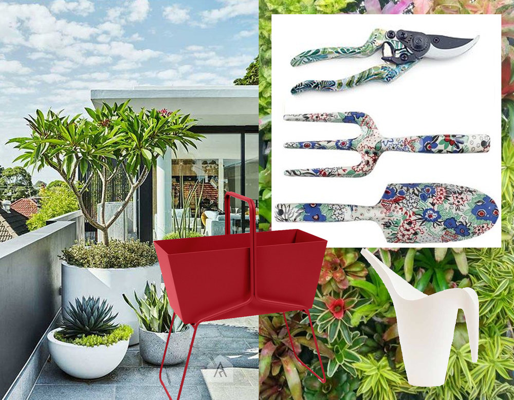 image terrace via Desire to Inspire - high red planter Fermob - watering can PS2002 IKEA - gardening tool set V&A