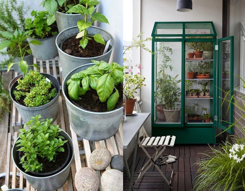 Herb garden via Apartment Therapy - your greenhouse on balcony via Ma Plante Mon Bonheur