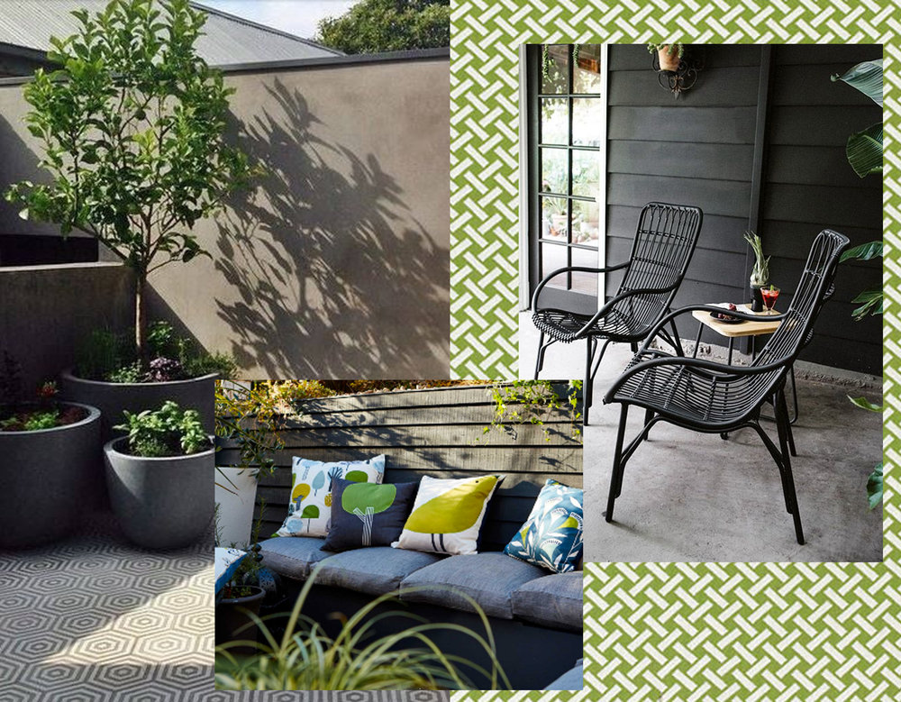 Balcony in dark color harmony - outdoor fabric Portico Thibaut - colorful cushions Scion - Medan chair via SF Girl by Bay