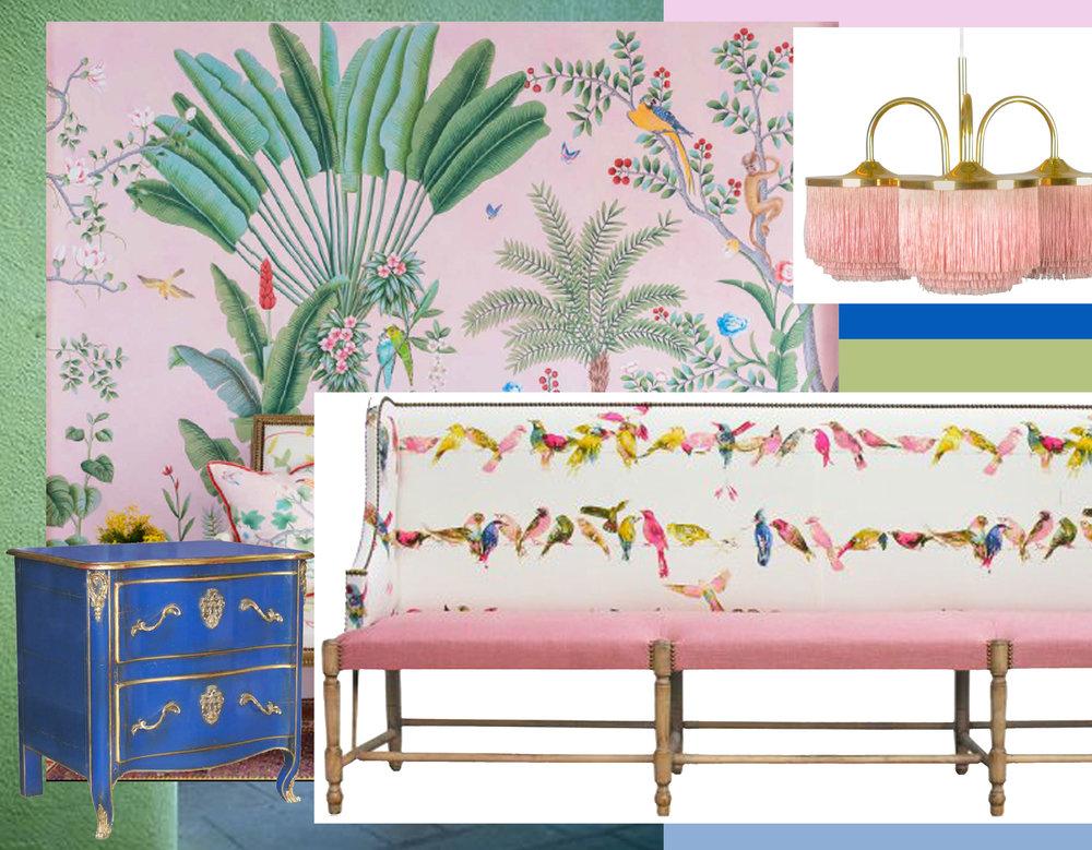 hand painted wallpaper  De Gournay  - chest of drawers  Moissonnier  - banchetta  Moissonnier  - vintage lamo Hans-Agne Jakobsson via  1stdibs