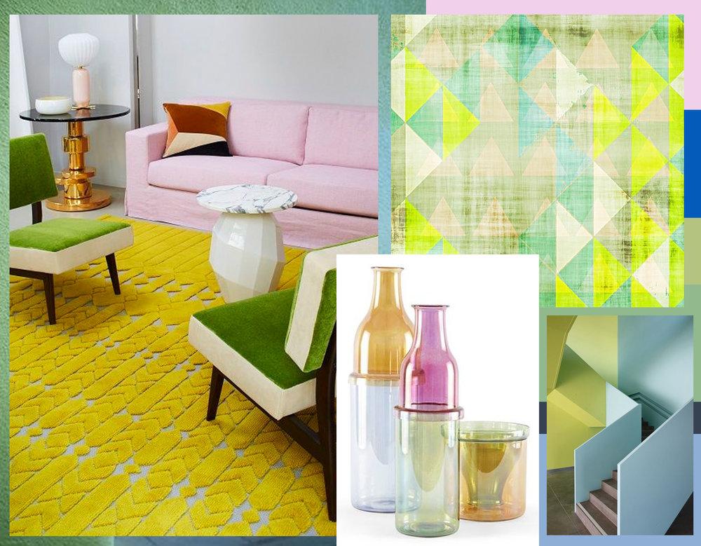 interior via  Wallpaper  - vases via  Crowdy House  - staircase via  Archdaily  - art print via  AmyLighthall