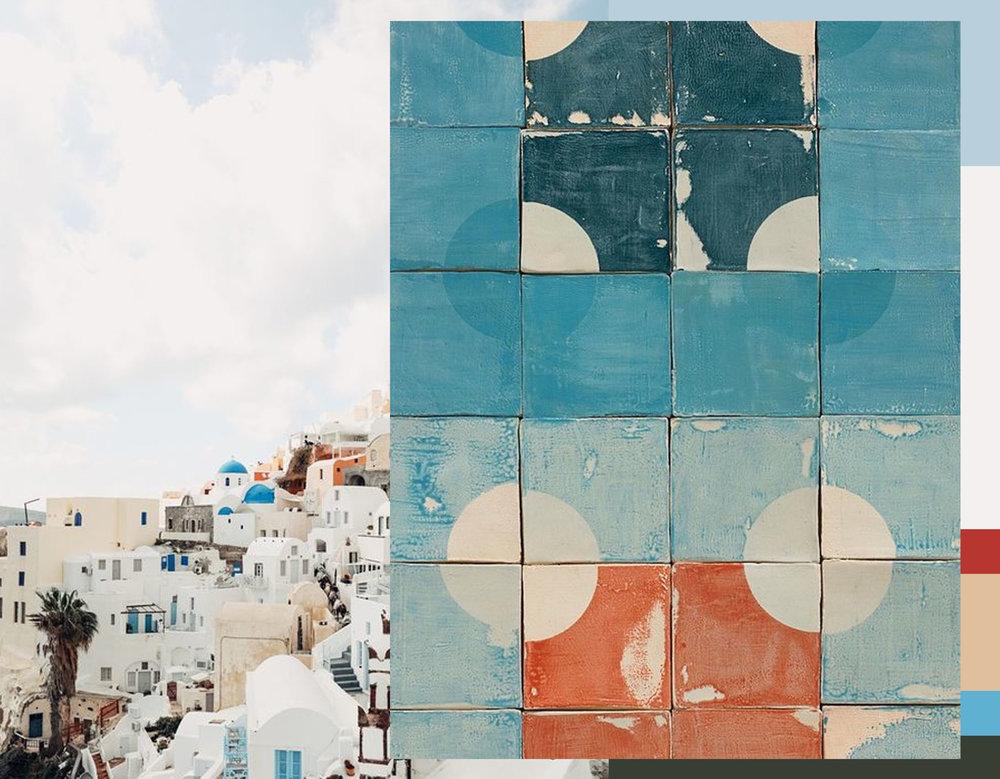 Santorino via  A  spyn Ovard - Wabi-Sabi tiles via  Remodelista